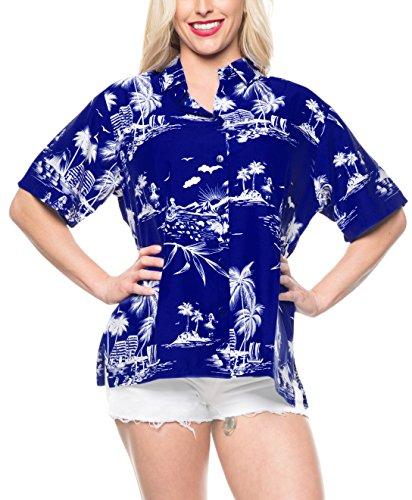 LA LEELA Likre Short Sleeve Collar Camp Shirt Royal Blue 405 XXL - US 44 - -