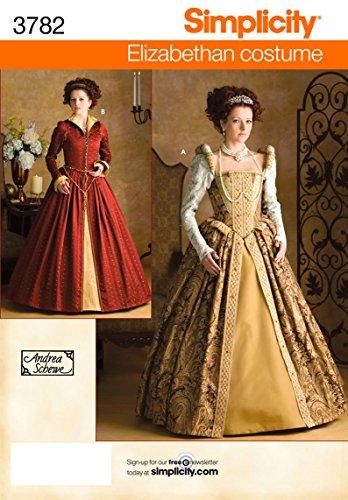 Simplicity Andrea Schewe Pattern 3782 Misses Elizabethan Costume Dresses Sizes 6-8-10-12