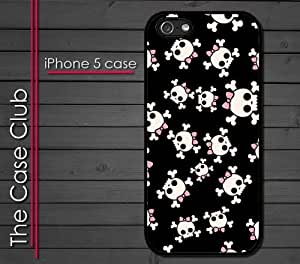 iPhone 5 Rubber Silicone Case - Girls Skulls Cute pink bow punk rock Skull and crossbones