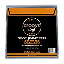 Groove Vinyl 7 Inch 45 RPM Premium Outer Record Sleeves with Flap (50 Pack)