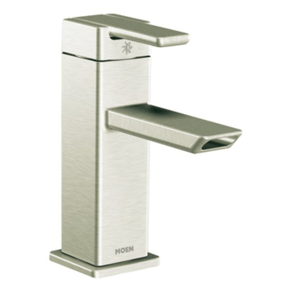 Moen 90 Degree One-Handle Low-Arc Bathroom Faucet with Drain ...