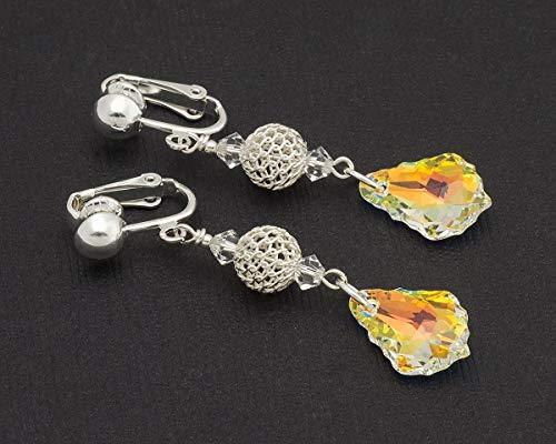 Aurora Borealis Swarovski Elements baroque crystal drop bridal silver clip on earrings