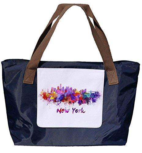 Shopper /Schultertasche / Einkaufstasche / Tragetasche / Umhängetasche aus Nylon in Navyblau - Größe 43x33cm - Motiv: Silhouette / Schriftzug in Wasserfarben USA Amerika New York - 01
