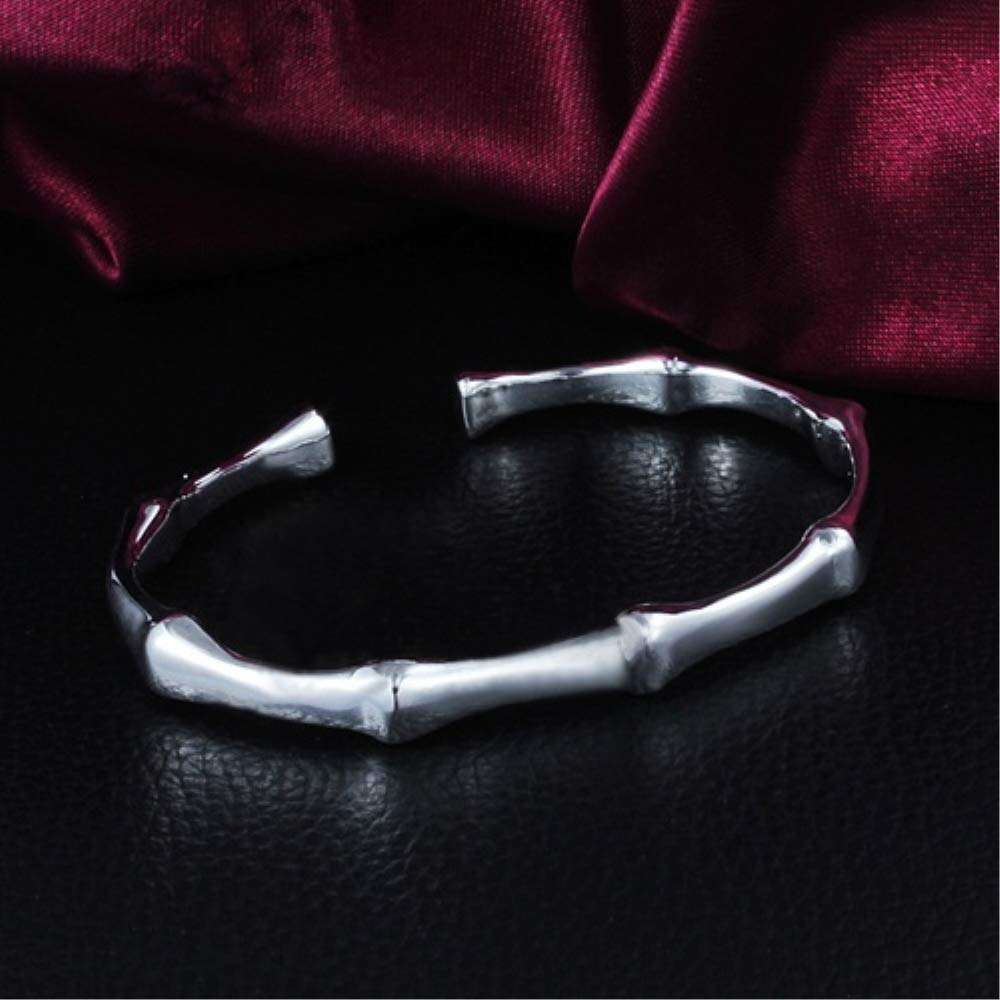 QiQiFanFan Womens Fashion 925 Sterling Silver Bangle Bamboo Joint Opening Cuff Bracelet