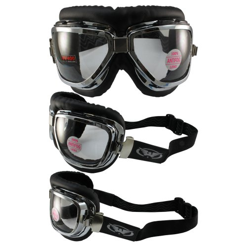 Global Vision Classic 1 Old School Bomber Aviator Motorcycle Goggles Silver Frame Clear - Aviator Classic Goggles