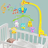 BabyGo Rotating Giraffe Musical Rattle Cot Mobile for Cradle and Bed Jhoomer ( No Batteries Needed)