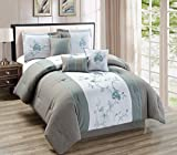 Modern 7 Piece Bedding Grey / Aqua Blue a Floral Embroidered QUEEN Comforter ...