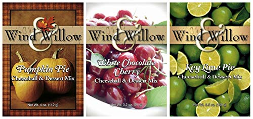 Wind & Willow Sweet Cheeseball and Dessert Mix Bundle (3 Pack): Key Lime Pie, White Chocolate Cherry, and Pumpkin Pie ()