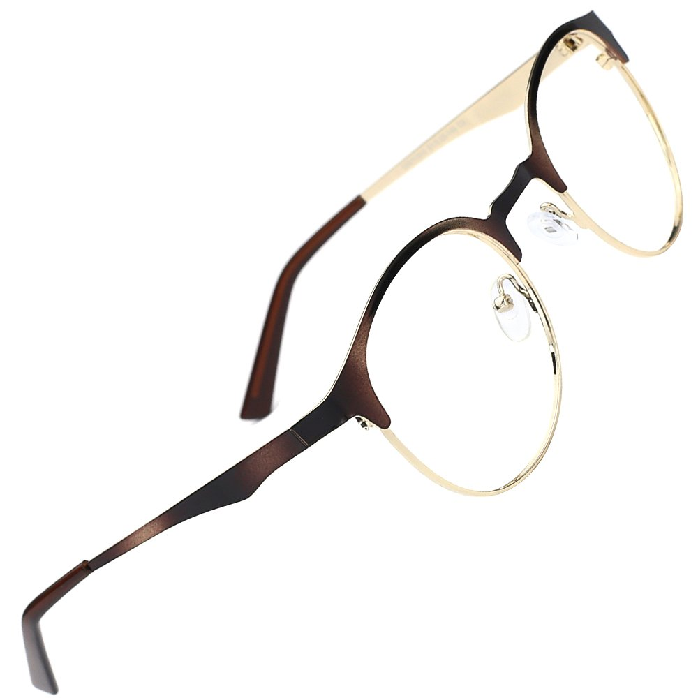 TIJN New Round Designer Metal Eyeglasses Frames with Clear Lens (Tortoise, Transparent)