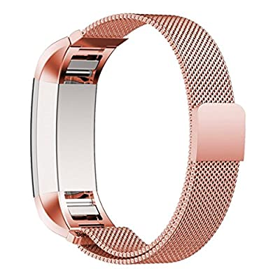 Fitbit Charge 2 Band, AnsTOP Stainless Steel Milanese Metal Bracelet Strap with Unique Magnet Lock for Fitibit Charge 2