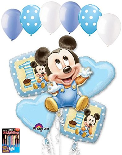 11 pc 1st Baby Mickey Mouse Happy Birthday Balloon Bouque...