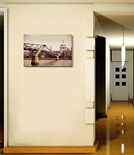 St Pauls Cathedral and Millennium Bridge in London Vintage Retro Style Wall Decor