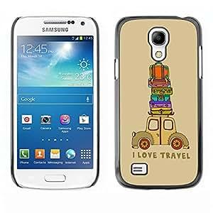YiPhone /// Prima de resorte delgada de la cubierta del caso de Shell Armor - Quote Travel Suitcase Brown - Samsung Galaxy S4 Mini i9190 MINI VERSION!