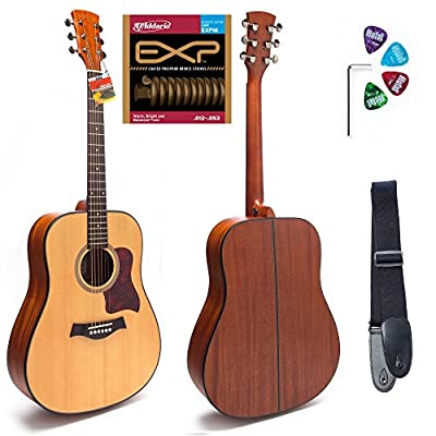 Hola! HG-41 Deluxe Dreadnought Acoustic Guitar, Full Size