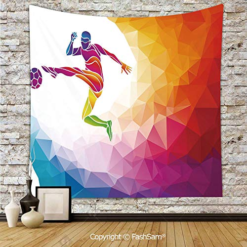 Tapestry Wall Blanket Wall Decor Fractal Soccer Player Hitting The Ball Polygon Abstract Artful Illustration Decorative Home Decorations for Bedroom(W59xL78)