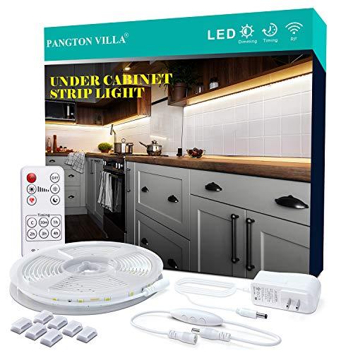 PANGTON VILLA Under Cabinet Lighting RF Wireless Remote Timing Function, 13ft White LED Strip 6000K Flexible Full kit, DIY Kitchen, Cupboard, Desk, Monitor Back, Shelf,