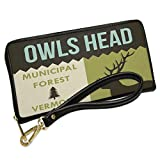 Wallet Clutch National US Forest Owls Head Municipal Forest with Removable Wristlet Strap Neonblond