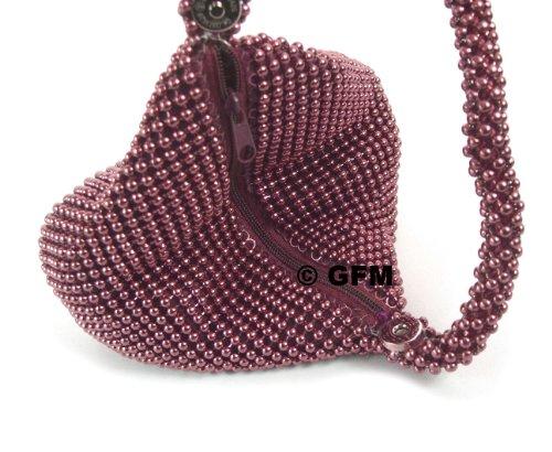Porte pochette perles en Fastglas 01 main avec à Poignet Silver étui Petit soirée de GFM à Monnaie souple forme Ch sac Pochette de 6fOdq