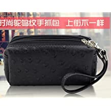 Big Mango Multi-purpose Fashion Ostrich Print Cellphone PU Leather Bag and Clutch Three Layers Zipper Wallet for Apple Iphone 4 4s Iphone 5 Iphone 5s 5c Samsung Galaxy S4 S3 HTC Blackberry MP3 and Makeup with Wristlet and Hand Belt (Black)