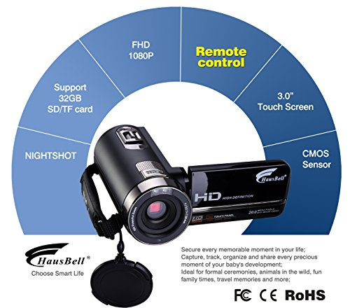 Hausbell 302S FHD Camcorder 1080...