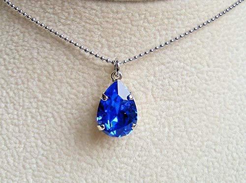 Majestic Blue Teardrop Pendant 18 Inch Necklace Made With Swarovski Crystal Gift Idea - Majestic Necklace Set