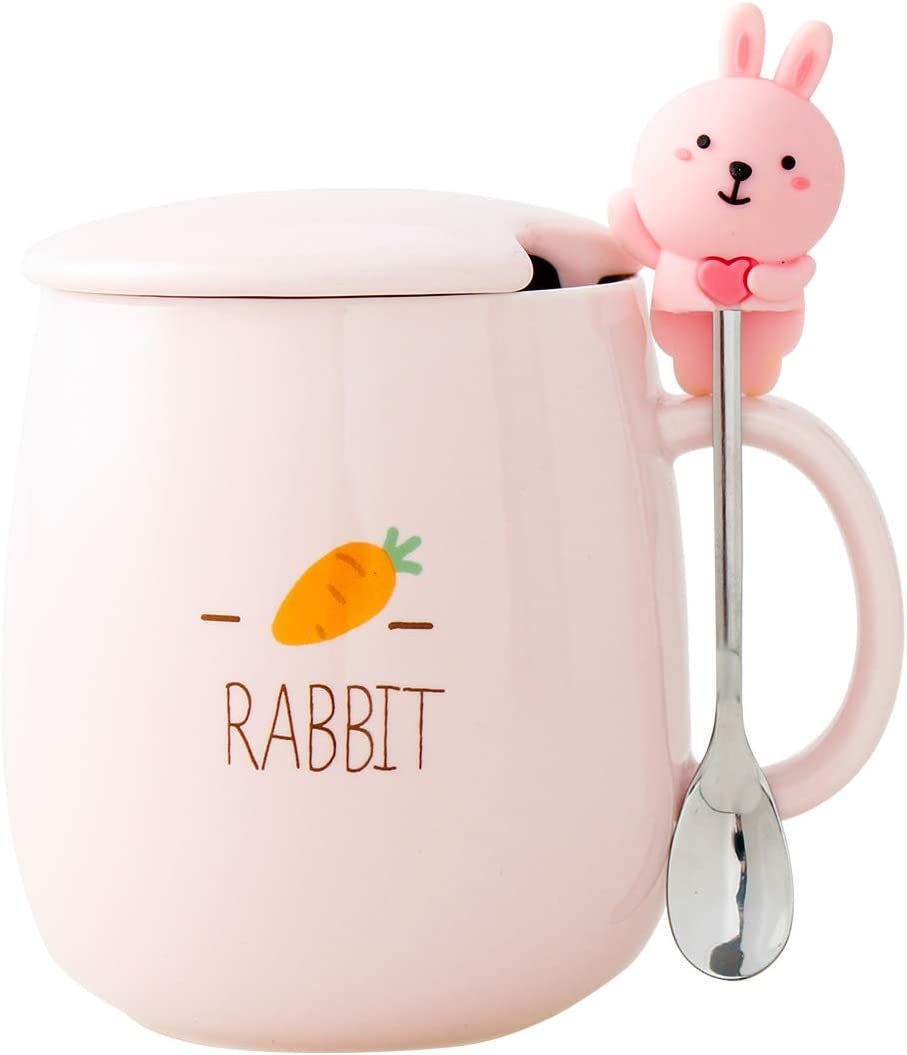 UPSTYLE Novelty Funny Ceramic Coffee Mug Cute Rabbit Bunny Cartoon Animals Tumbler the Office Travel Tea Cup To Go with Lid and Spoon for Men and Wonmen (430ml/14.5oz Climb Rabbit)