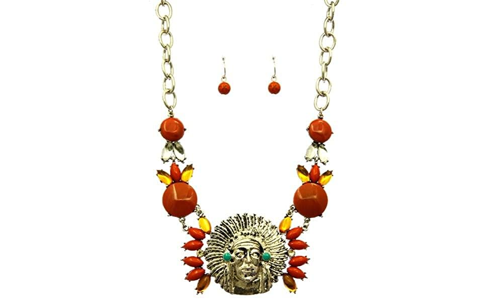 FB Jewels Solid Native American Chief Necklace And Earring Set Bib With Homaica Stone