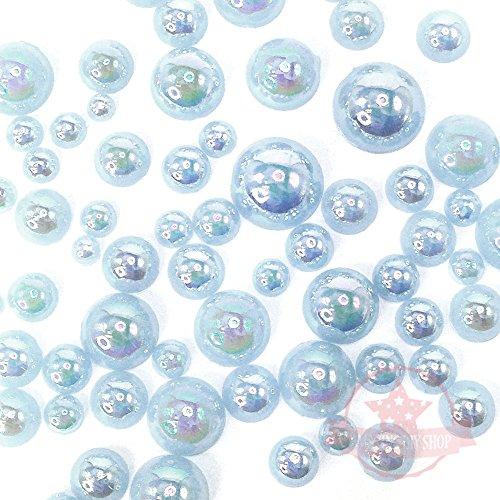 Blue Flat Back Light - GreatDeal68 200 pcs 2mm -10mm Light Blue Resin Faux Round Shiny Pearls Flatback Mix Size