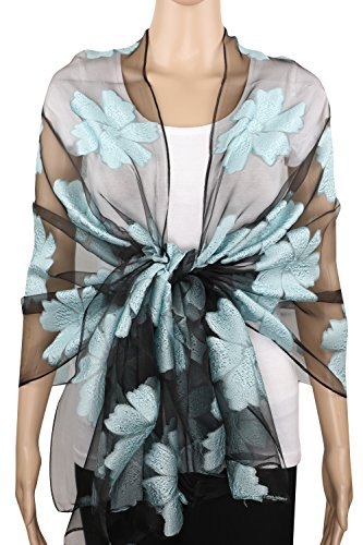 Sheer Burnout Scarf Shawl Beach Wrap w/ Embroidered Floral Flower Pattern (Floral Mint) ()
