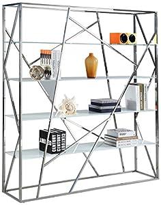 Milan KAILYNN BKS Kailynn White Starphire Chrome Bookshelf