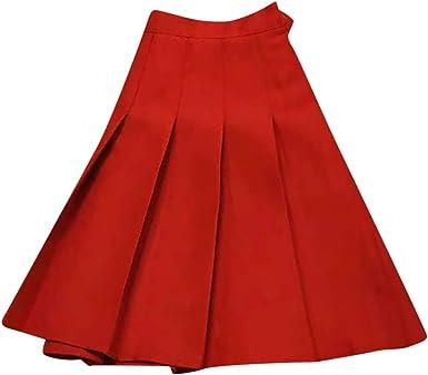 AHAYAKU Mini Falda Plisada Lisa Casual para Mujer - Rojo - X-Large ...