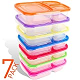 Bento Lunch Box Containers - 7-Pack for Kids & Adults - Plastic Divided Box 3-Compartment , Easy BPA Free , Reusable Food Storage Containers Set | Microwave , Dishwasher and Freezer Safe
