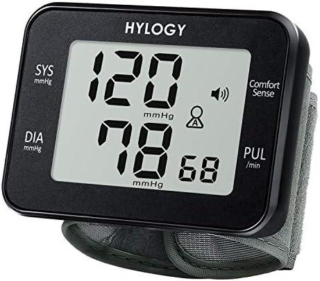 Blutdruckmessgerät Handgelenk,HYLOGY Handgelenk Blutdruck Messgeraet,Vollautomatische Blutdruck- und Pulsmessung Schlank Sprachübertragungs Funktion,Großes LCD Bildschirm, 2 * 90 Speicher (schwarz)