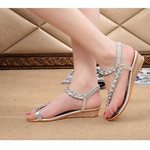 Sandals Shoes Flip Platform Silver Solid XILALU Flats Flops Wedged Summer Woman Rhinestone 70BOq