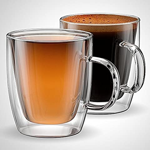 Anchor & Mill Double Walled Insulated Glass Coffee Mugs or Tea Cups for Espresso, Latte, Cappuccino, Thermo Glassware, 12 oz. (354 ml), Set of 2, Gift-boxed - 8 Ounce Cafe Mug