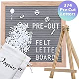 Grey Felt Letter Board 10x10 Inches with 374 3/4'' Pre-Cut White Plastic Letters. Changeable Letter Board with Stand Easel + 2 Drawstring Pouches Changeable Message Board with Letters Office Business Sign Boards Home Decor Felt Board