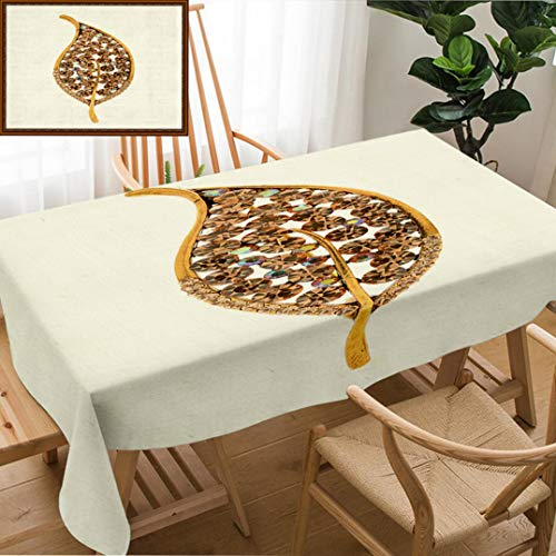 Skocici Unique Custom Design Cotton and Linen Blend Tablecloth Golden Brooch in The Form of A Leaf On A White BackgroundTablecovers for Rectangle Tables, 78