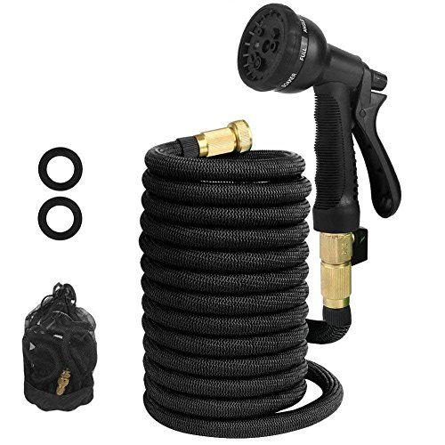 Jogboy Expandable Garden Hose, 50 ft Water Hose with Triple Layer Latex and Solid Brass Fittings, Flexible Expanding Hose for Yard, 8 Functions Spray Nozzle & Extra Strength Fabric ()