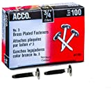 ACCO Brass Paper Fasteners, 3/4'', Plated, 1 Box, 100 Fasteners/Box (71703)