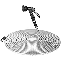 BOSNELL 50FT Garden Hose, 304 Stainless Steel Hose with 2 Free Nozzles, Lightweight, Ultra Flexible and Tangle Free, Cool to Touch, Tough and Durable