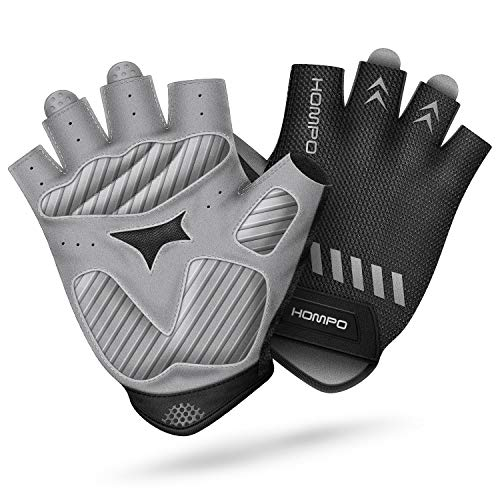 HOMPO Bike Gloves Cycling Gloves Half Finger for Men Women with Foam Padding Breathable Mesh Fashion Design for Motorcycle Bicycle Mountain Riding