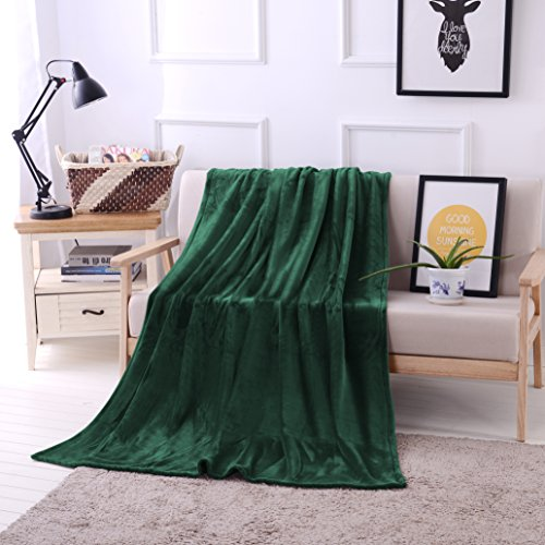 "Luxury Flannel Velvet Plush Throw Blanket - 50"" x 70"" (Forest Green) by Exclusivo Mezcla from Exclusivo Mezcla"