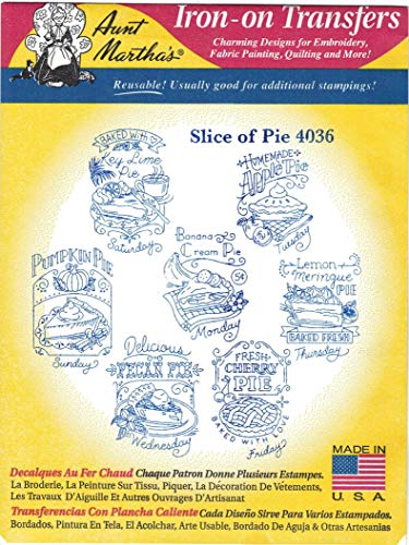 Slice of Pie Aunt Martha's Hot Iron Embroidery Transfer