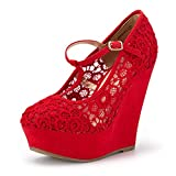 DREAM PAIRS Women's Wedge-Height-l Red Lace Crochet Mary-Jane T-Strap Wedge Platform Pumps Shoes Size 9.5 B(M) US