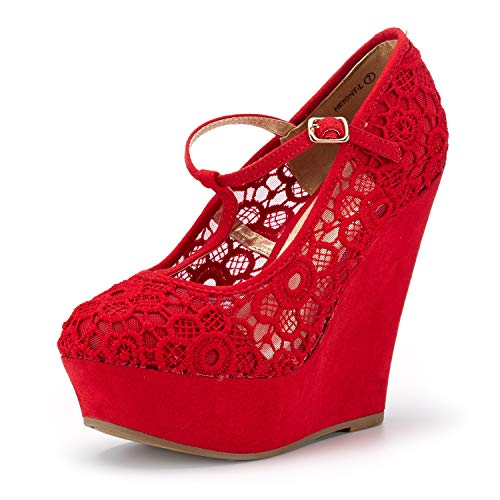 DREAM PAIRS Women's Wedge-Height-l Red Lace Crochet Mary-Jane T-Strap Wedge Platform Pumps Shoes Size 9.5 B(M) US by DREAM PAIRS