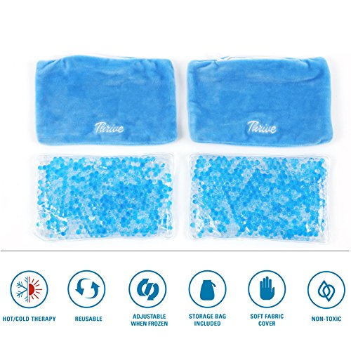 Gel Beads Hot & Cold Compress Pack – 2-Pack – Innovative Reusable gel bead technology provides instant heat or ice pain relief, rehabilitation and therapy. Includes 2 packs + 2 covers by Thrive (Image #5)