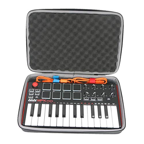 co2crea Hard Travel Case for Akai Professional MPK Mini MKII | 25-Key Ultra-Portable USB MIDI Drum Pad Keyboard Controller (Travel Case with Foam) by Co2Crea