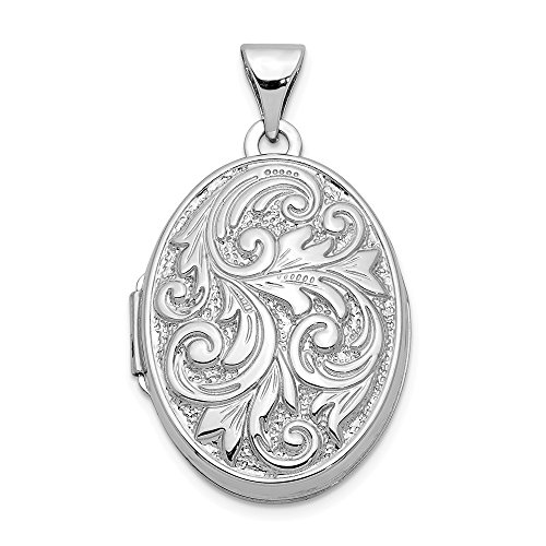 14k White Gold Reversible Love You Always Oval Photo Pendant Charm Locket Chain Necklace That Holds Pictures Fine Jewelry Gifts For Women For - 14k Pendant Locket White Oval Gold