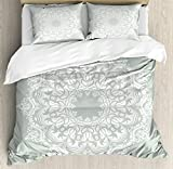 Arabian King Size Duvet Cover Set by Ambesonne, Oriental Pattern Damask Arabesque and Floral Elements Classical Artwork Motifs, Decorative 3 Piece Bedding Set with 2 Pillow Shams, Green White