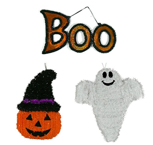Halloween Friendly Tinsel Wall Plaque Decoration Bundle. The set includes 3 Halloween Characters Pumpkin Ghost and Boo.